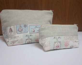 Set 2 necesers with zipper, set 2 bags with zipper, style shabby chic, maxi and mini, perfect for travel,
