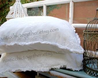 Ruffled Pillow Sham - Linen embroidery