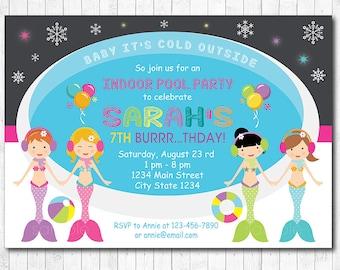 Mermaid Pool Party Invitation, Mermaid Indoor winter pool invitation, Mermaid Pool Party Birthday Invitation, printable