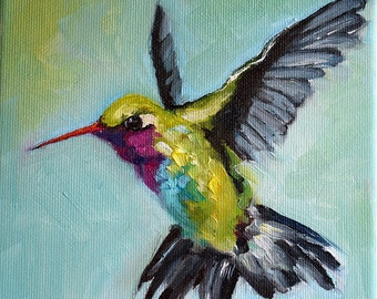 Oil Painting, Original Colorful Impressionist Hummingbird, Flying Bird 6x6 Inch