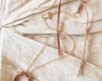 Ellis Leather Circle Necklace