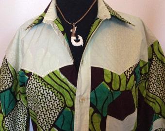 African Batik shirt - Lg