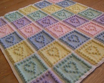 Heart Squares Baby Blanket Bobble KNITTING PATTERN by Peach Unicorn (Plain or Intarsia)