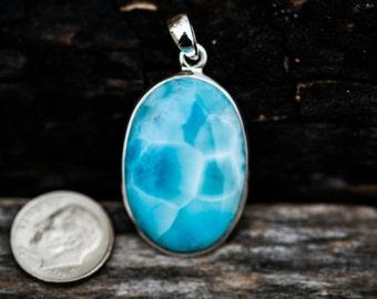 Larimar Pendant - Blue Larimar pendant - Gorgeous Deep Blue Larimar - Blue Pectolite Pendant - Larimar necklace - larimar pendant