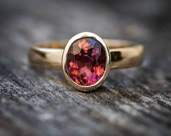 Pink Tourmaline 14k Gold Size 6 Engagement Ring -  Pink Tourmaline - Tourmaline Ring Size 6 - Pink Tourmaline - 14k Gold Deep Pink Ring