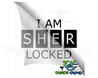 Sherlock Holmes I am sher locked Decal window laptop sticker