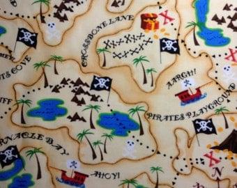 One Half Yard of Fabric Material - Pirate Treasure Map