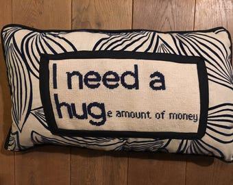 "Needlepoint Decorative Pillow ""I need a hug"""""
