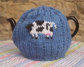Blue single Cow Tea Cosy  Cozy - handmade medium size.