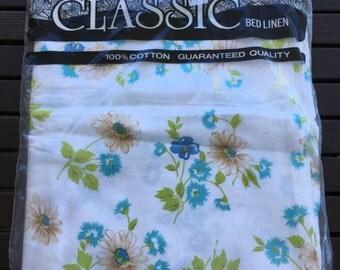 Vintage  Bed Sheet- Blue and Green Floral Bed Sheet- Vintage Single Bed Flat Sheet.