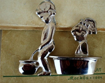 Vintage Set of 2 Solid Nickel Door Bathroom Signs/Toilet signs/ Set of 2 soviet WC Door Plaques, Toilet Door Signs/ 1990s