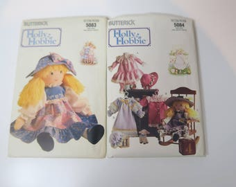 Butterick 5084 and 5083 Holly Hobbie Doll and Outfit Wardrobe Sewing Patterns NEW
