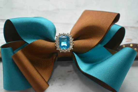 Turquoise and brown bow - Baby / Toddler / Girls / Kids Elastic Hairclip / Hair Barrette / Hairband / Headband
