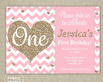 1st Birthday Invitation Gold Glitter Heart Invite First Birthday Confetti Printable Pink Invitation Gold and Pink 5x7 Digital Invite 332b
