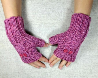 Owls Fingerless Gloves for Kids 4 to 6 years antique pink, handknitted wrist warmers, mittens