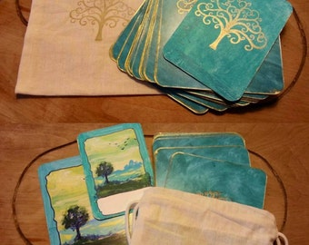 Handmade Oracle Cards 20 pc Deck Gold Trees Gilded Hand-Stamped Printed Linda Fabry Intuitive Art Tarot Inspirational Affirmation LOA