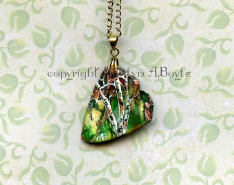 STONE- HAND PAINTED; original art, jewelry, pendant, wearable art, birch trees, irregular green stone,