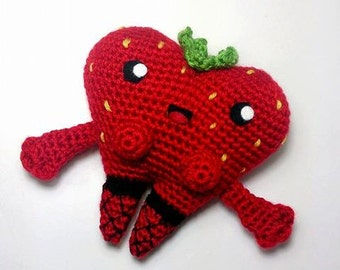 Sexy strawberry amigurumi soft toy, wearing fishnets. Crocheted & embroidered details. Height : 12 cm