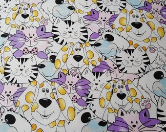 Flannel Fabric - Cats and Dogs with Purple - 1 yard - 100% Cotton Flannel