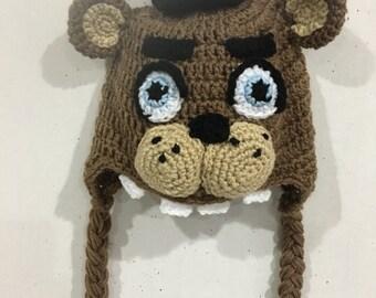 FNAF Freddy Fazbear inspired crochet hat