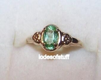 Vintage Gold Baby Ring 10k Gold Baby Birthstone Ring Green Stone Peridot