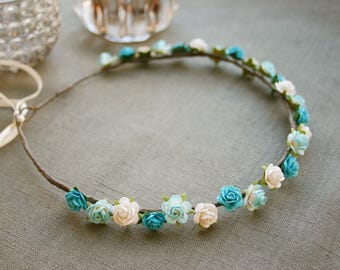 Delicate flower wreath with tiny roses in turquoise, aqua blue, white, bridal flower crown, wedding, festival, paper flowers, wreath, bride