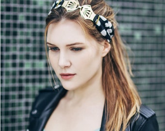 Head-band bohemian rock chic black fabric with white spots