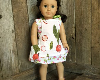 Apron and Oven Mitt for an 18 inch doll, American Girl Doll Size, fits some stuffed animals