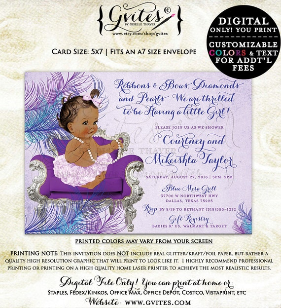 Purple Teal & Blue baby shower invitations, diamonds and pearls, african american baby girl baby party invites, ribbons bows ethnic baby.