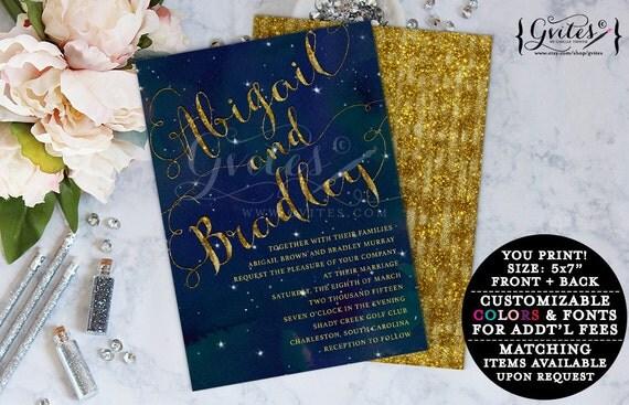 Navy blue and gold wedding printable invitations, royal blue couture wedding, glitz and glam fashion designer invites, glitter invites.