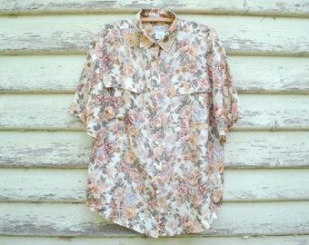 Vintage 90s Silk Shirt Floral Blouse Boho Hippie Oversized Loose Fit Grunge Vtg 1990s Size M-L