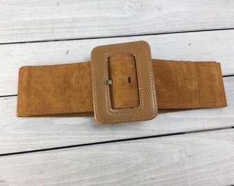Vintage Wide Suede Leather Stretch Belt Pilgrim The Limited Small 80s Fashion