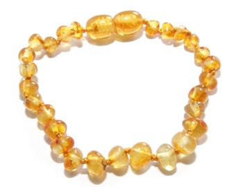 Genuine Baltic Amber Teething Bracelet Anklet for Child Amber Beads Authentic 16 - 17 cm/ 6.3 - 6.7 in