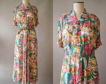 vintage 1980s dress / 80s rayon novelty print dress / medium-large