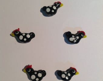 Chicken Lampwork  Beads qty 5