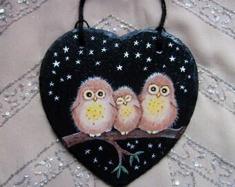 Owlets original painting on slate heart