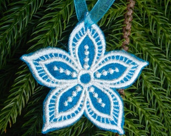 FSL Christmas Snowflake ~ Flower ~ Ornament ~ Christmas ~ Holiday ~ Wreath ~ Gift ~ Machine Embroidered on Turquoise Organza