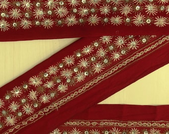Vintage Indian Sari Sewing Border Antique Embroidered Decorative Free Shipping Indian Red 1YD Trim Ribbon Lace VB12508