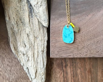 Little Turquoise / Mini Turquoise Pendant / Small Turquoise Necklace / Hexagon Necklace / Simple Jewelry / Bohema / Boho Style