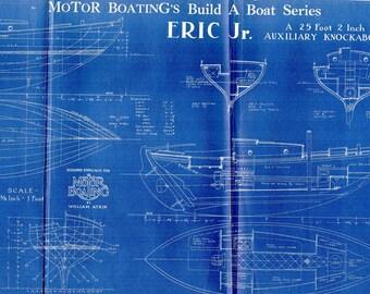 Antique Blueprint Vintage Ship Blueprint c.1940s Boat Auxilliary Knockabout Nautical Art Urban Industrial Decor