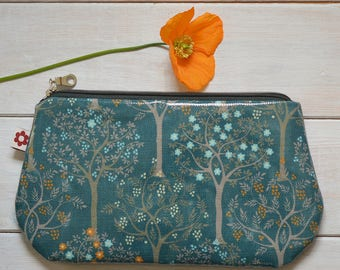 New! Bloom Teal Oilcloth Purse by Susie Faulks / Make Up Purse / Purse / Pencil Case / Made in England
