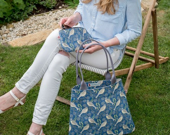 New!  Song Thrush Denim Tote Bag by Susie Faulks/ Bag/ Oilcloth Bags/ Made in England/ Original Print/ Tote