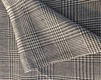 2 yds HOUNDSTOOTH WOOL PLAID fabric