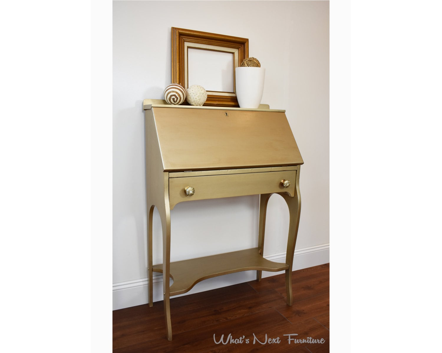 Gold Secretary Desk Small Metallic Painted By