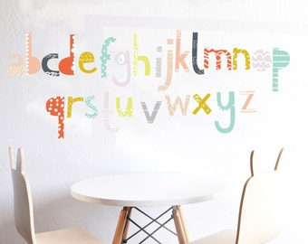 Alphabet - Wall Decal - Patterned Alphabet- lowercase  - Wall Sticker - Room Decor - Wall Decor