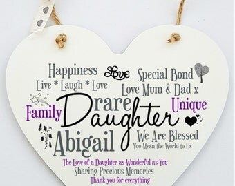 Personalised Daughter Hanging Heart Sign Plaque.