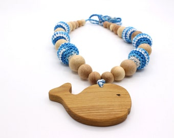 Breastfeeding necklace - Crochet nursing necklace for mom - Whale