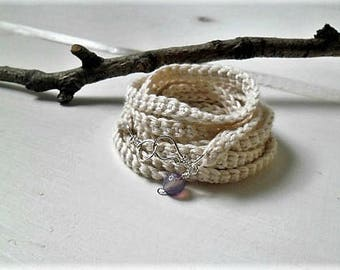 Crochet  wrap bracelet assorted colors - textile jewelry with purple agate bead