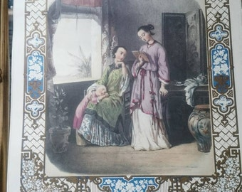 Japan. Les Filles du Céleste Empire. 1870. Chromolithograph by Anaïs Colin.Nr 6 .Litography,The Daughters of the Celestial Empire,