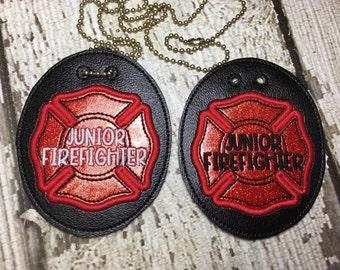 Junior Firefighter Badge -  NECKLACE - Fireman  - In The Hoop - Digital Embroidery Design
